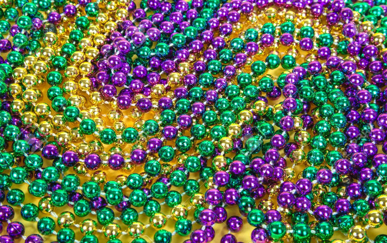 Colorful Mardi Gras Beads Background Stock Photo Picture And 1300x818