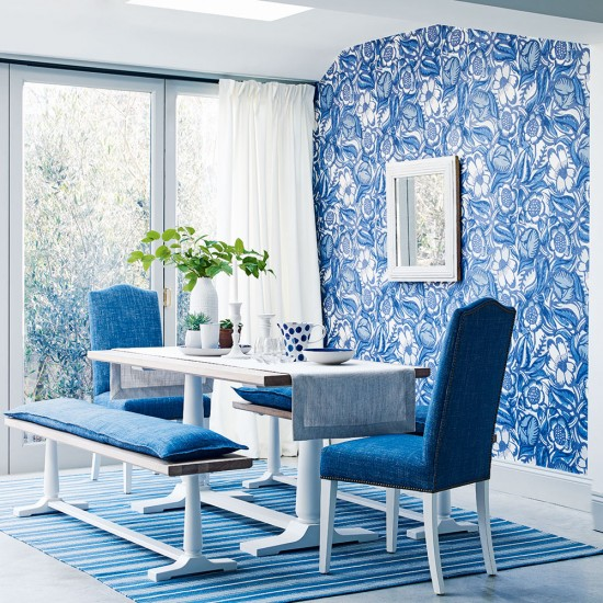 Free Download Blue Dining Room With Floral Wallpaper And White Dining Table 550x550 For Your Desktop Mobile Tablet Explore 47 Floral Wallpaper For Dining Room Dining Room Wallpaper Decorating