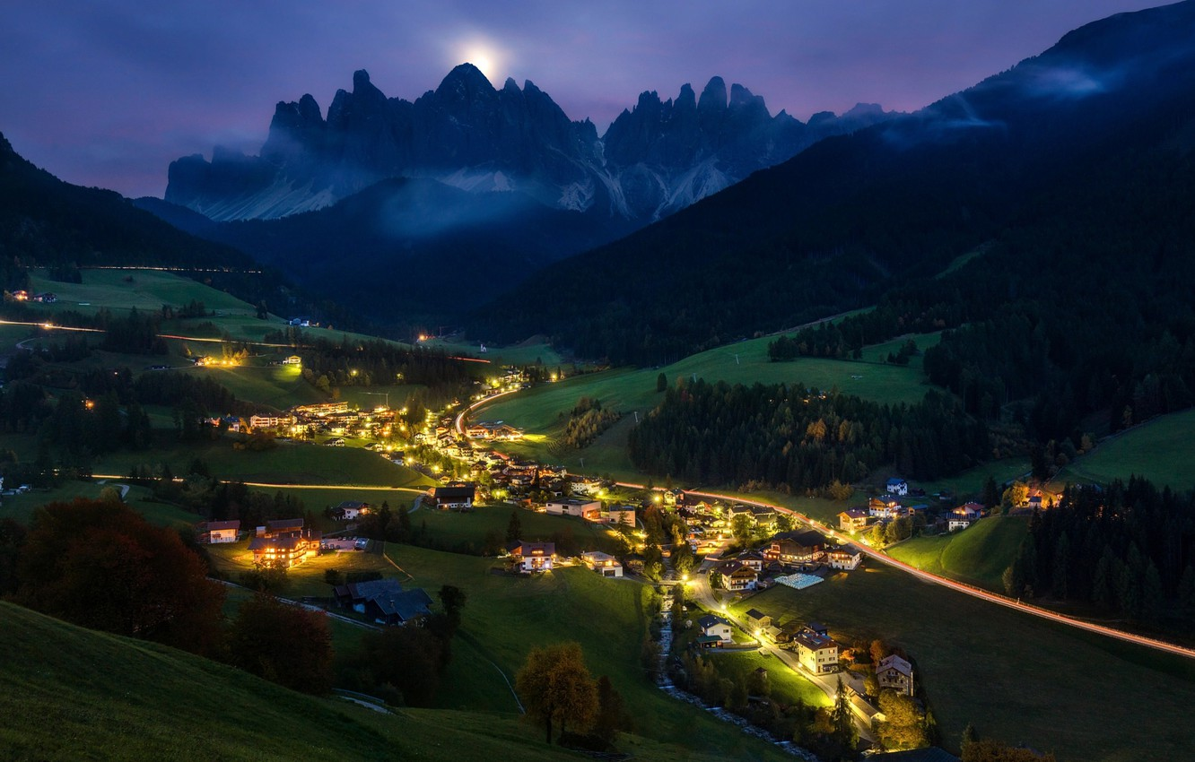 Wallpaper light mountains night valley Alps the village 1332x850