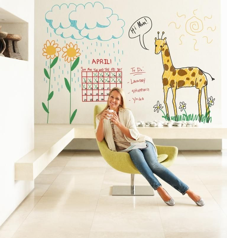 White Board Dry Erase Wall Paint Great for A Kitchen Wall Kids 768x803