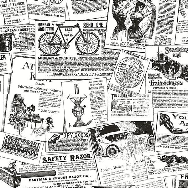 Antique Newsprint Wallpaper   Eclectic   Wallpaper   by Pebblestone 600x600