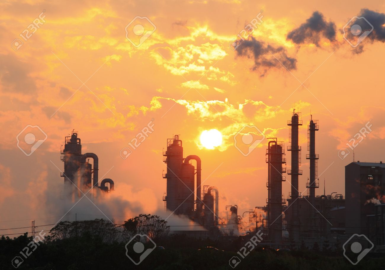 Air Pollution Smoke From Pipes And Factory With Sunset Background 1300x911