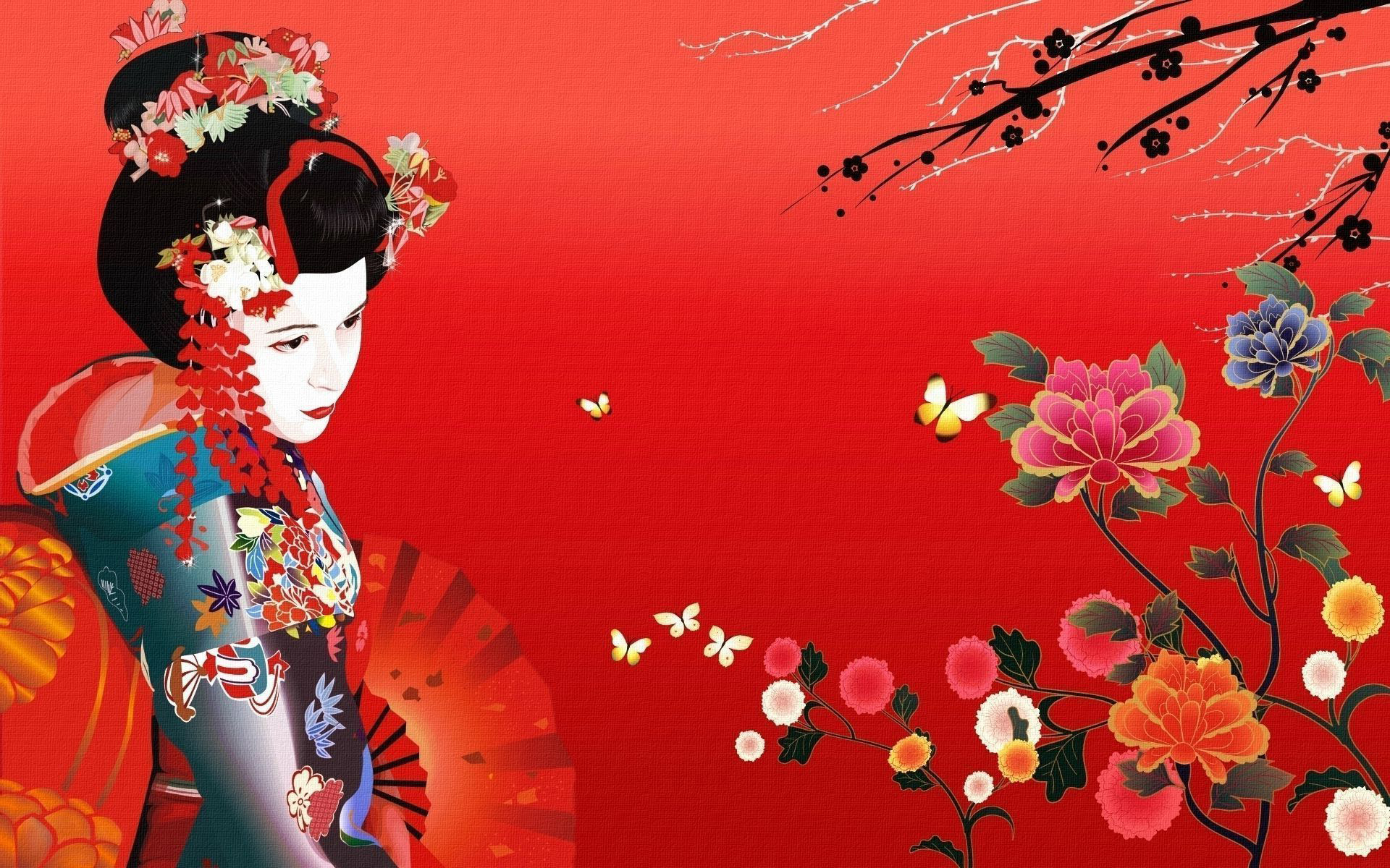 Wallpaper flower fan geisha Geisha 1920x1200