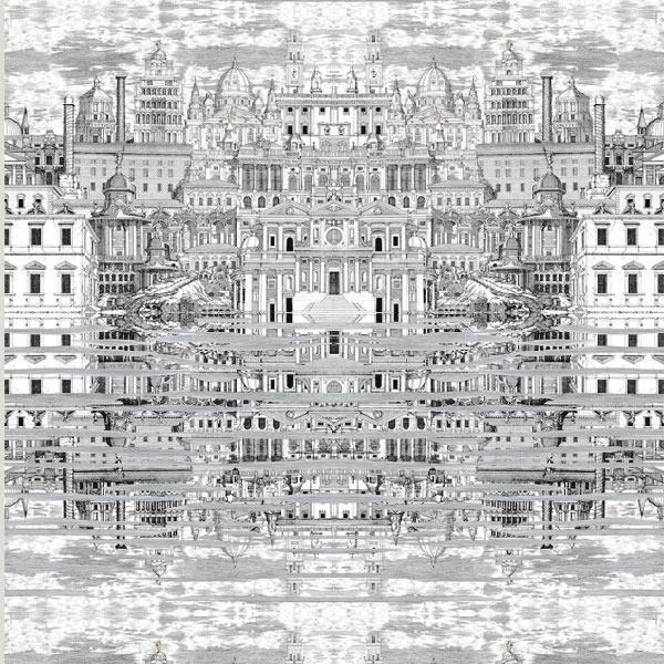 Fornasetti Riflesso Wallpaper   Mediterranean   Wallpaper   los 600x600
