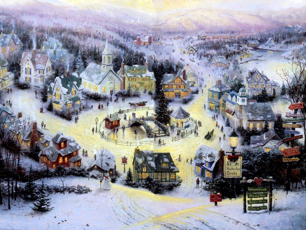 christmas gift Christmas Scene Wallpapers 1024x768
