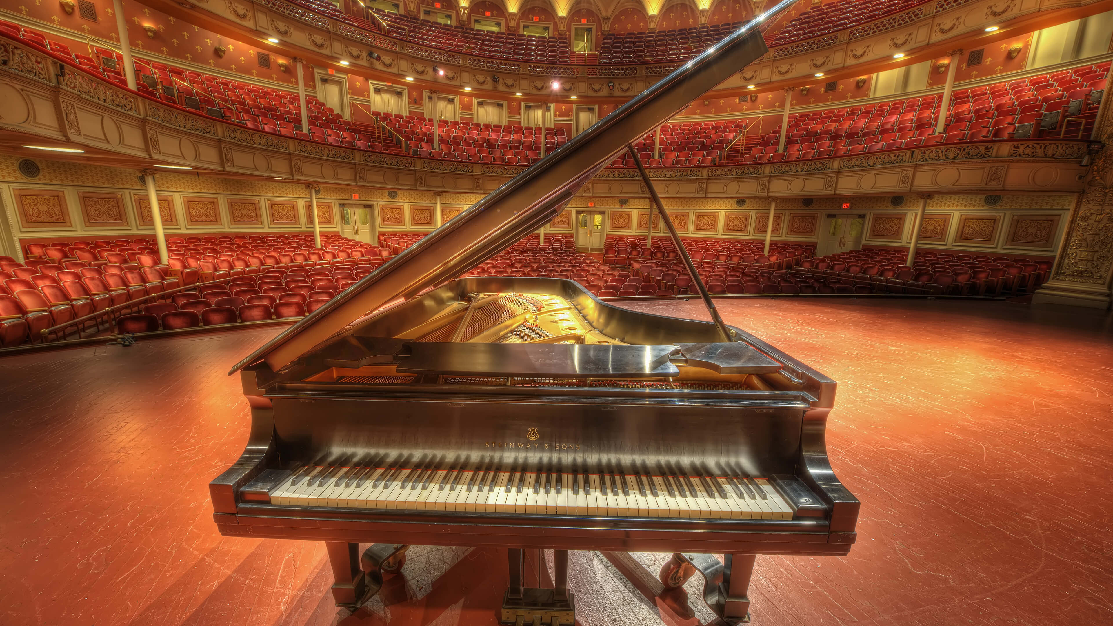 Steinway Sons Piano at Carnegie Music Hall Pittsburgh 4K Wallpaper 3840x2160