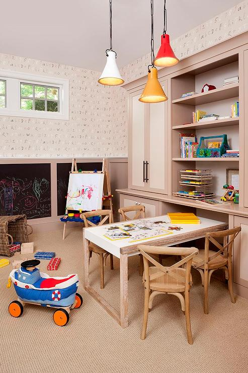 Kids Room with Alphabet Wallpaper and Chalkboard Wainscoting 493x740