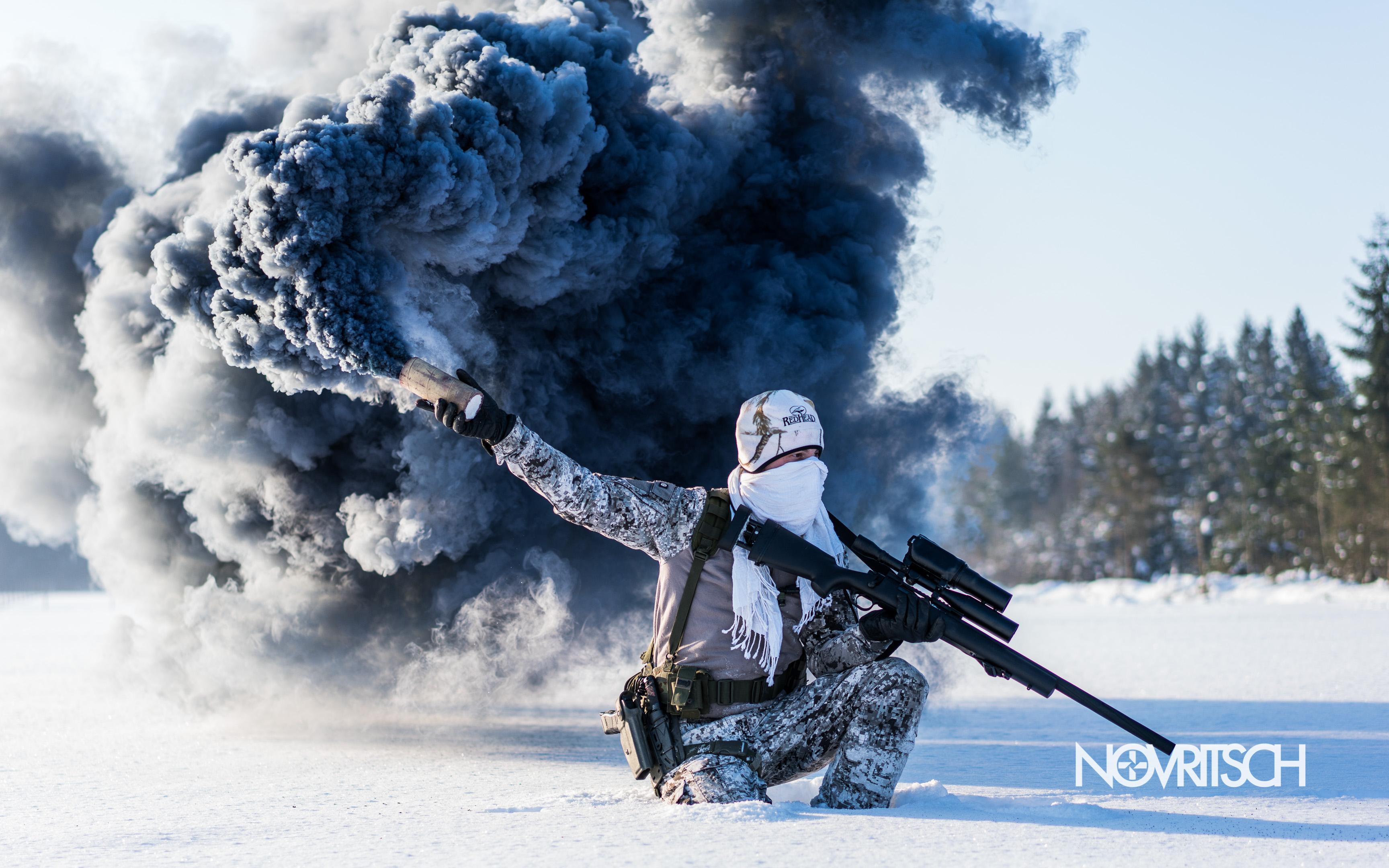 Wallpaper of Airsoft Military Smoke Grenade Sniper Rifle 3456x2160