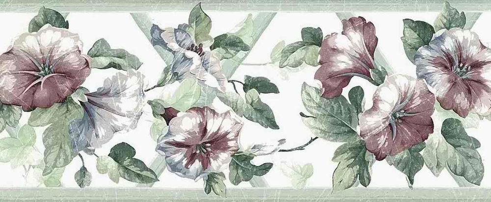 Morning Glories Trellis Wallpaper Border Green Rose Cottage UK 1000x411