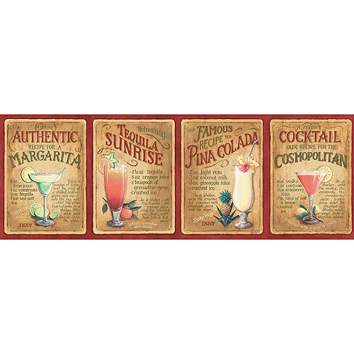 Blue Mountain Cocktail Wallpaper Border Burnt Red Orange and Yellow 500x500