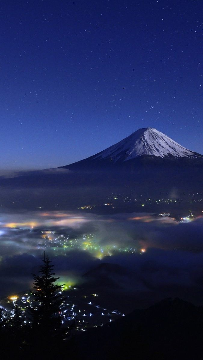 Mount Fuji Japan Night View iPhone Wallpaper in 2019 Iphone 675x1199