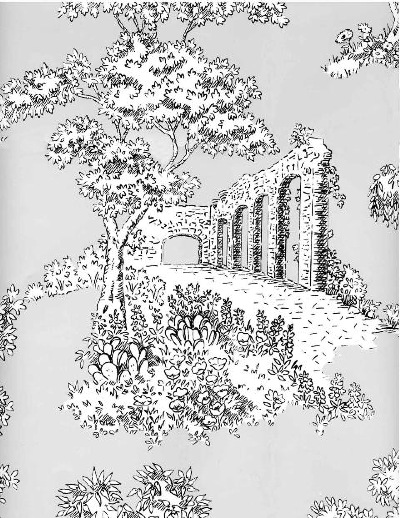 Print Inspired Antique Toile Wallpaper Museum   wallpaper calculator 400x518