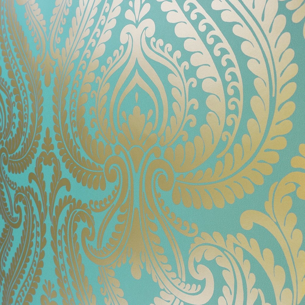 Teal and yellow wallpaper wallpapersafari for Teal wallpaper