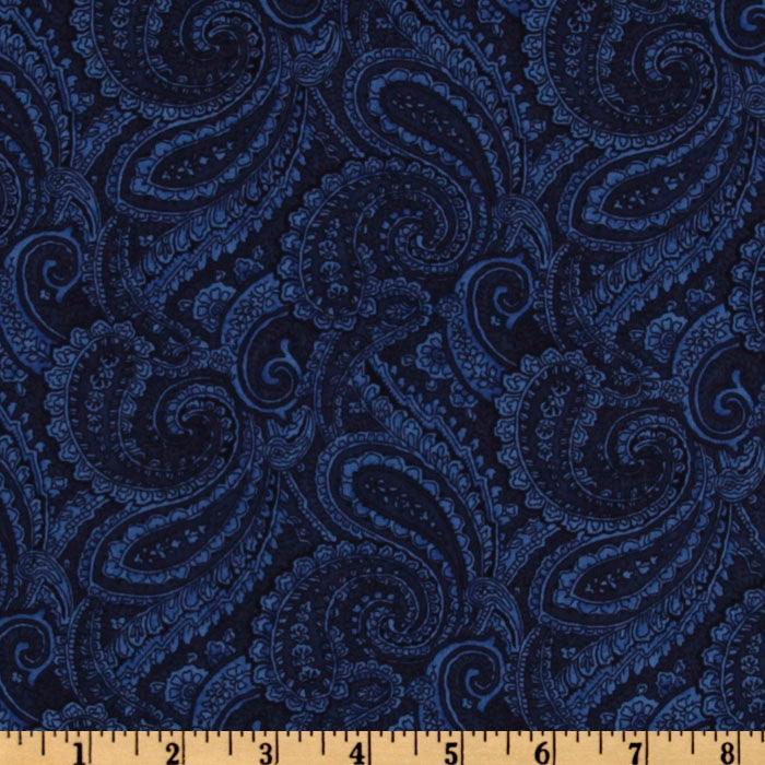 Navy Blue Paisley Wallpaper
