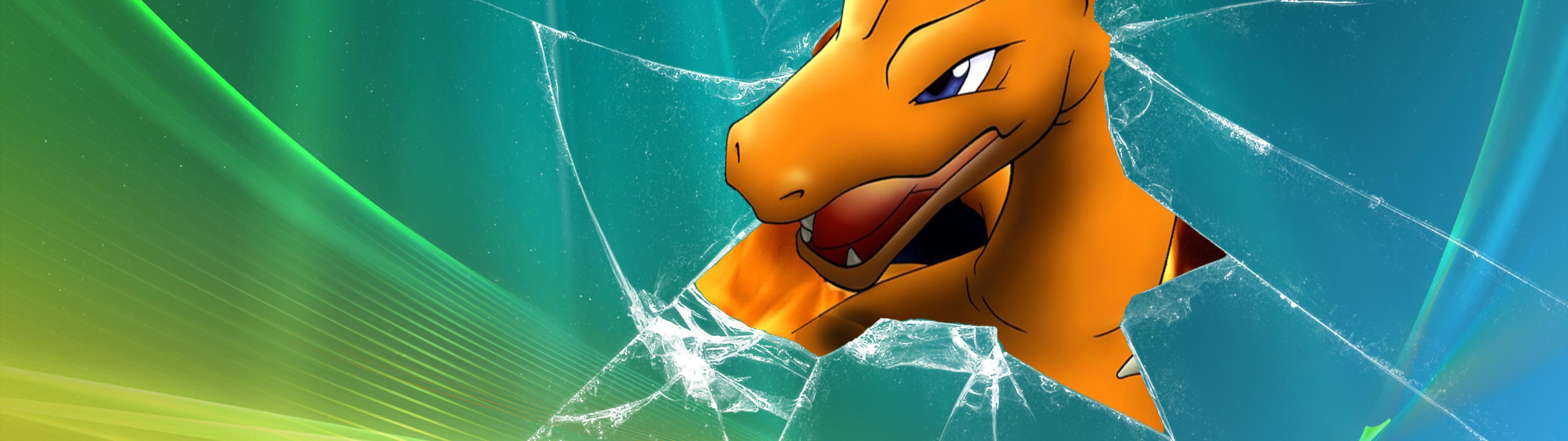 pokemon vista broken screen charizard desktop 1920x1080 wallpaper 3840x1080