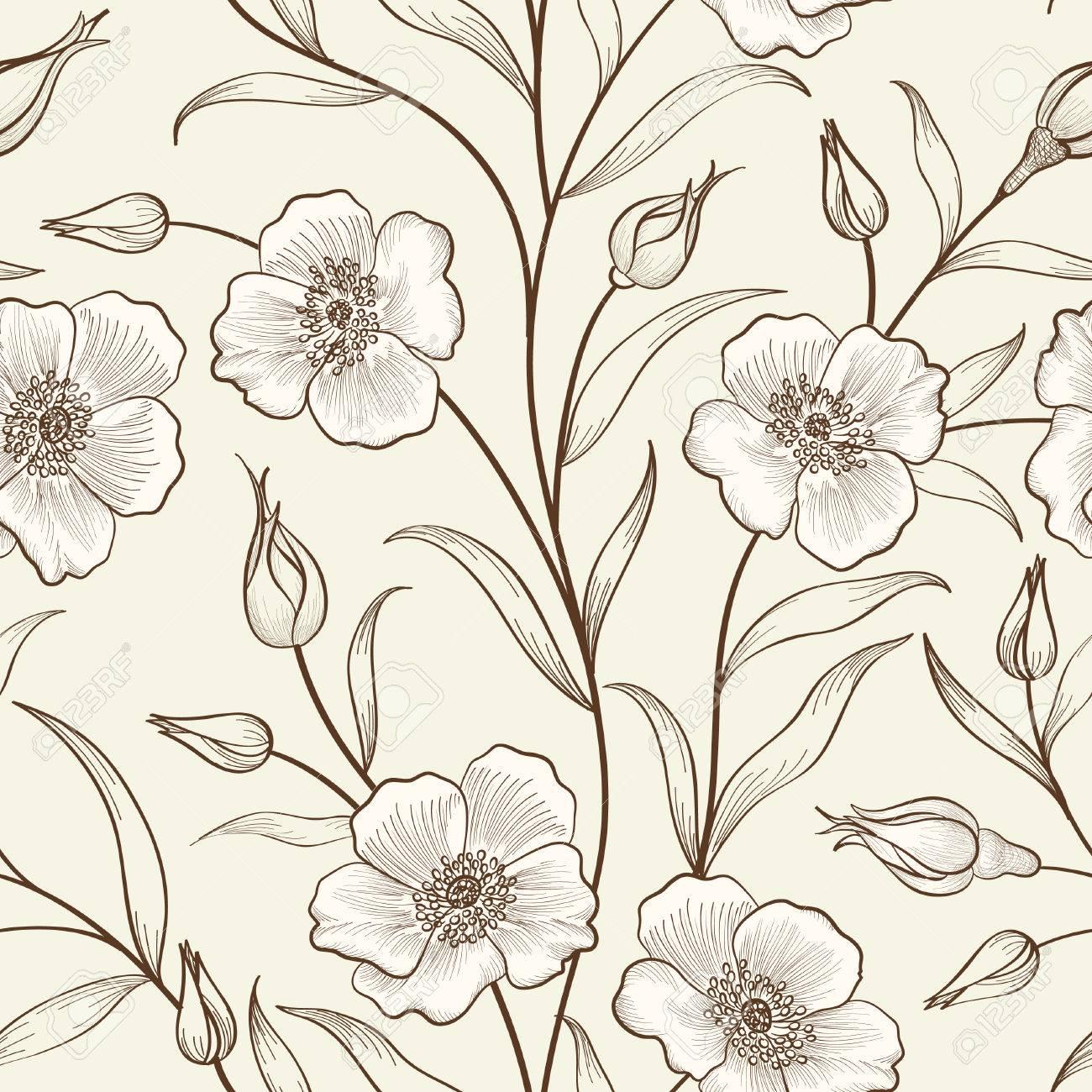 Floral Seamless Outline Sketch Pattern Flower Background Floral 1300x1300