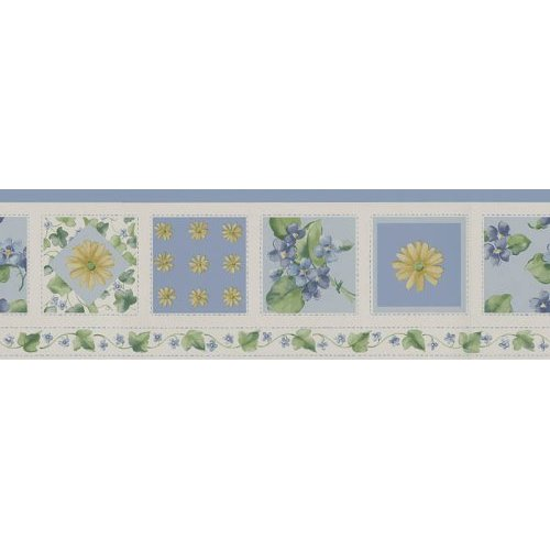 Waverly wallpaper border Pattern Name Cartwheel Quilt Border Chambray 500x500