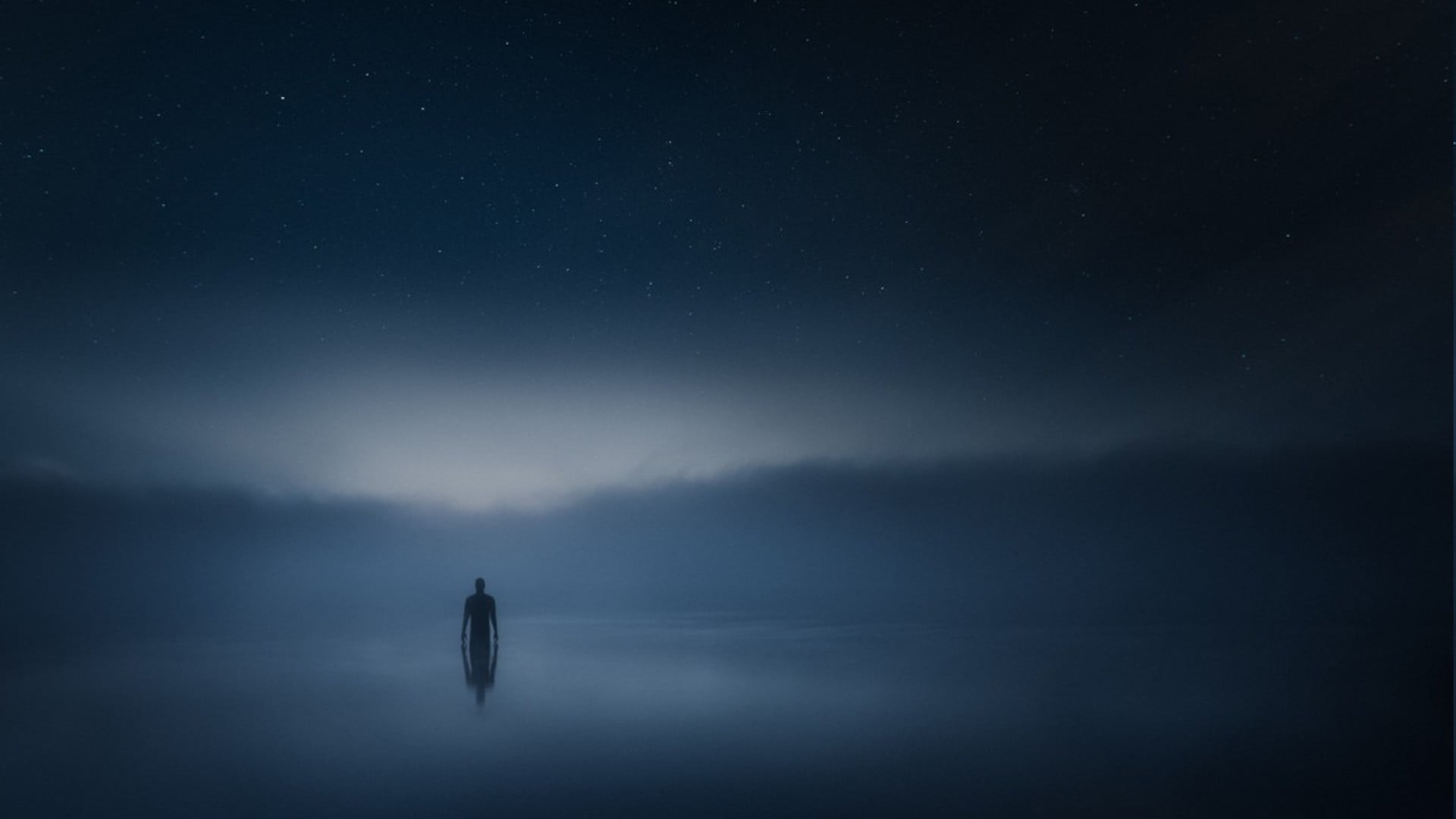 Silhouette of person half submerged in body of water digital 1920x1080