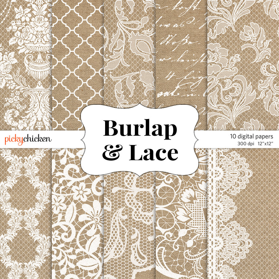 Burlap And Lace Background Digital 900x900
