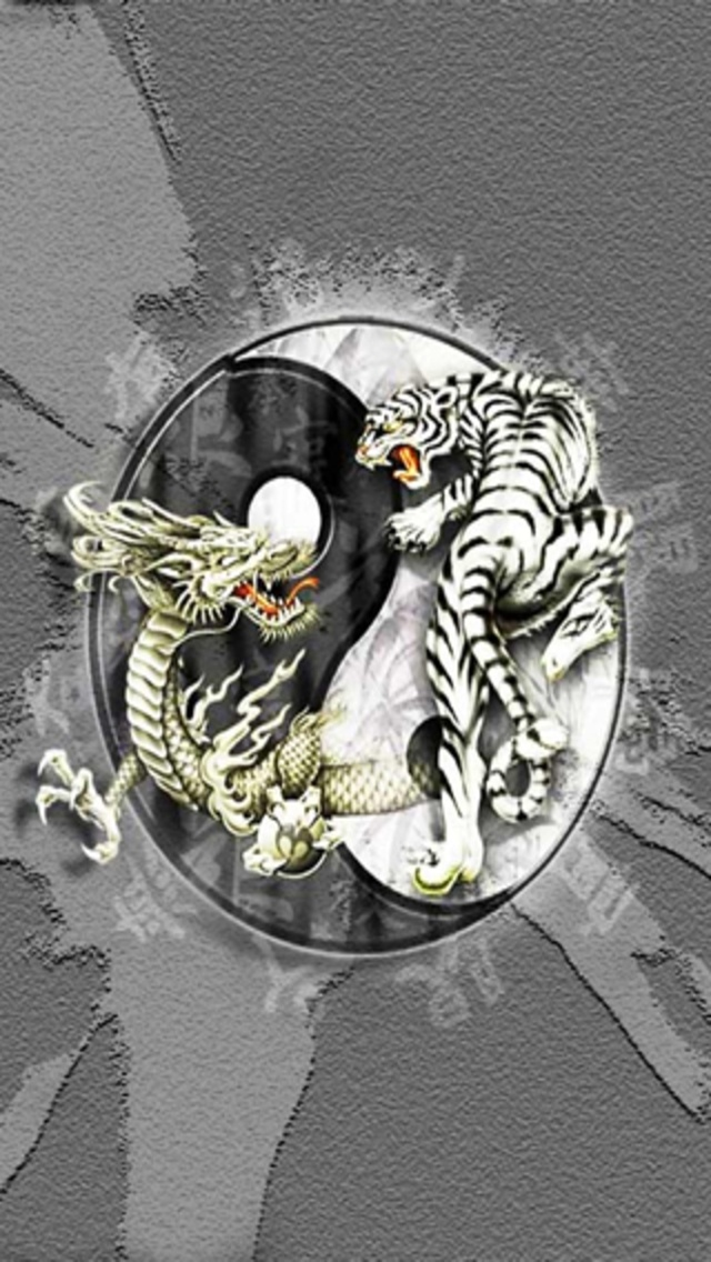 Yin Yang Dragon Tiger Wallpaper Tiger and dragon yin yang 640x1136