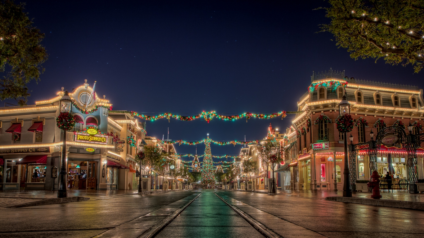 1366x768 the christmas village wallpaper download 1366x768