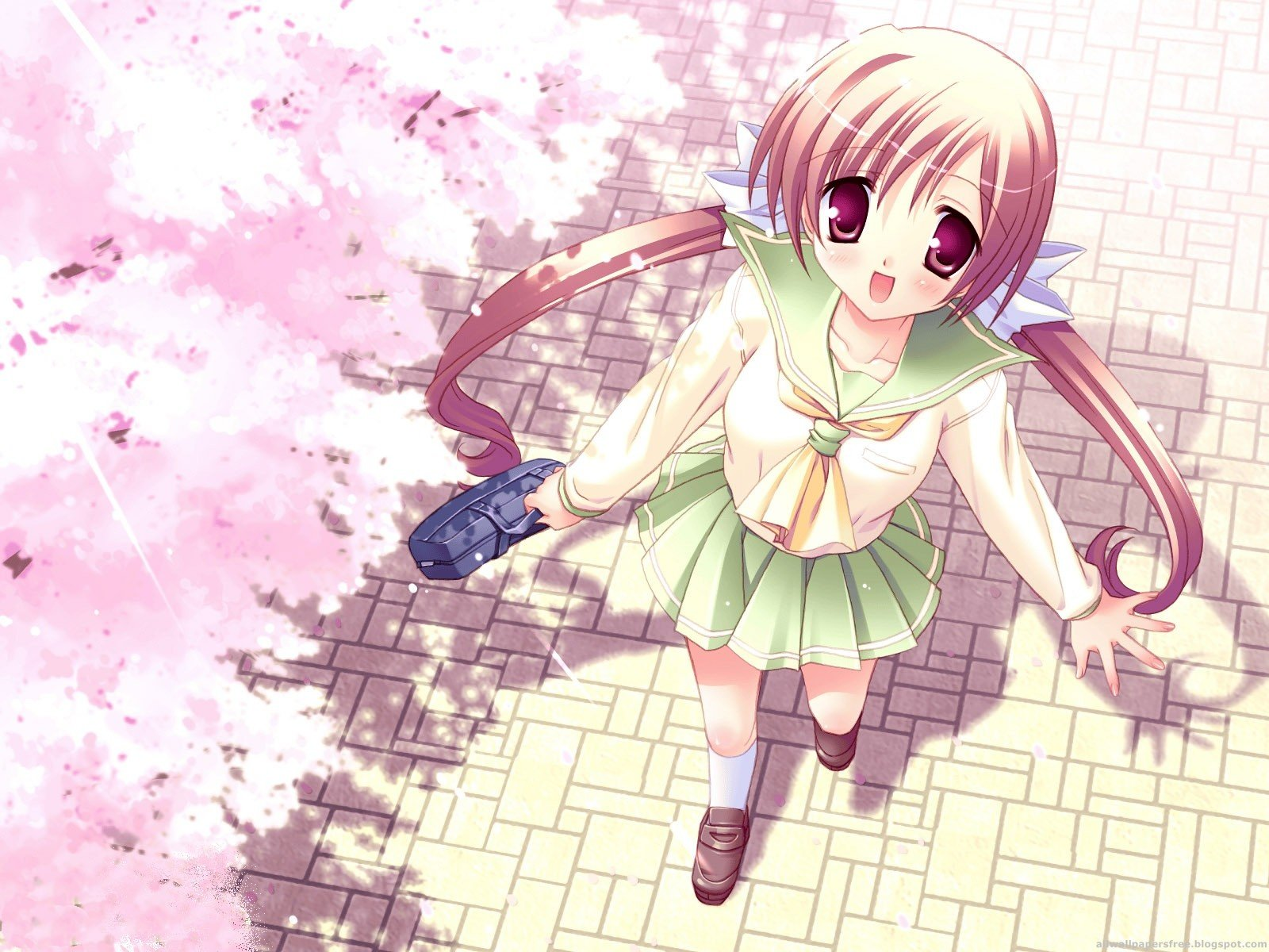 Cherry Blossoms Wallpaper 1600x1200 Cherry Blossoms School Uniforms 1600x1200