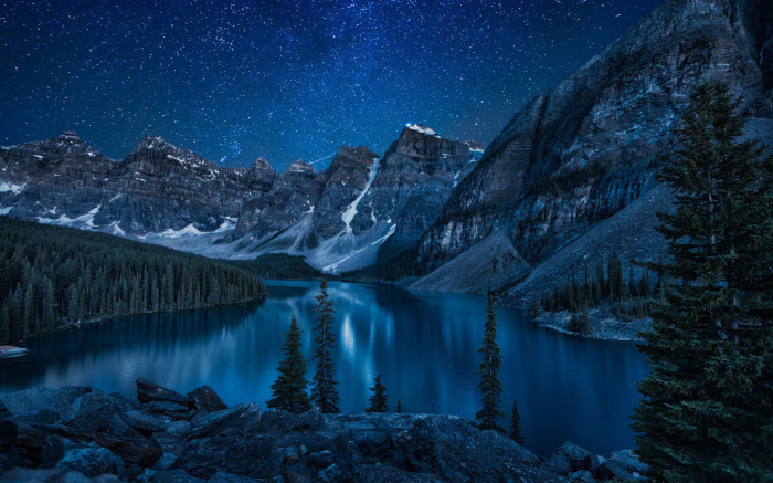 and Lake at Night   Night Sky Starry Night Stars Mountain Night 700x437