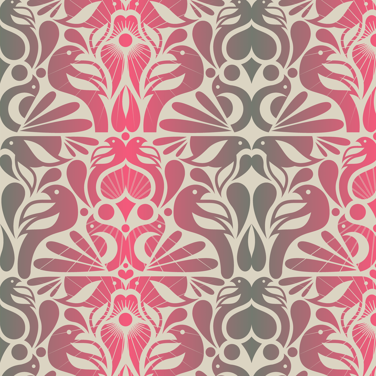 Shop Floral Birds Pattern 70s Retro Wallpaper 1200x1200