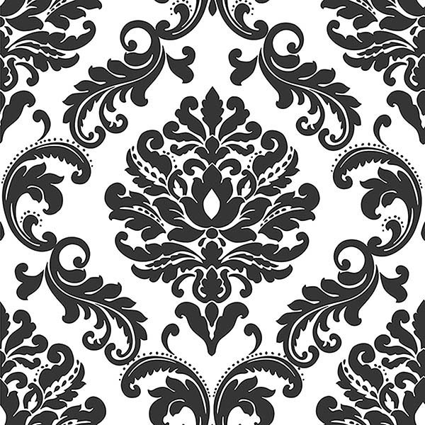 Ariel Black and White Damask Peel And Stick Wallpaper 600x600