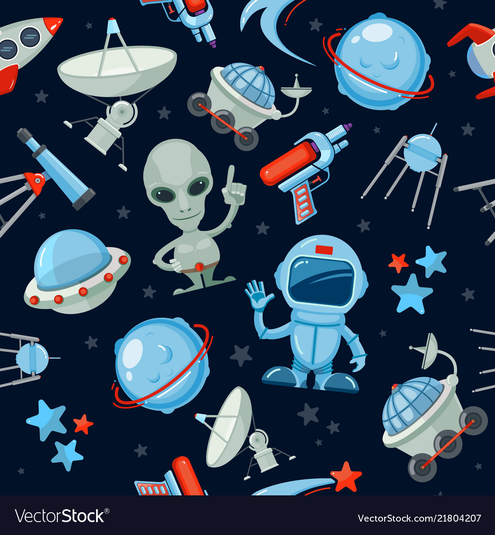 Space seamless background astronaut alien ufo Vector Image 1000x1080
