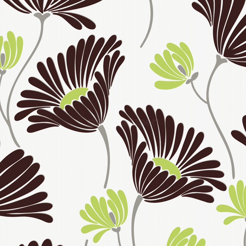 Serenity Chocolate and Lime A Stunning Contemporary Floral Wallpaper 800x800