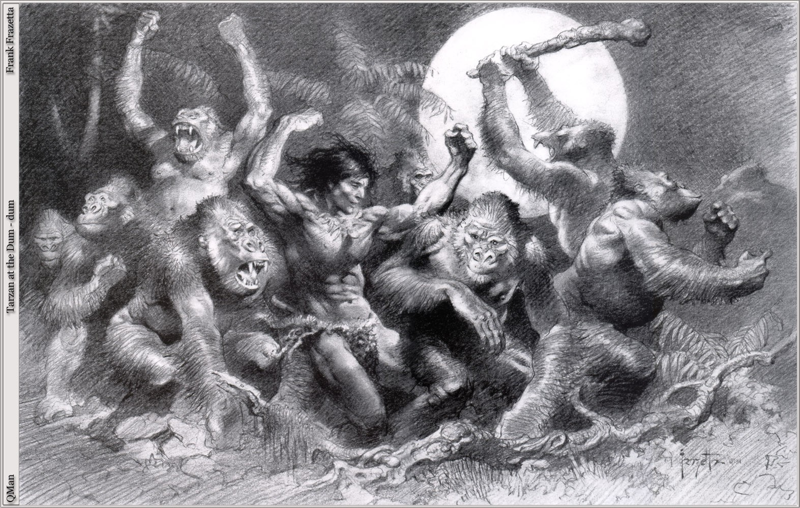 apes tarzan monochrome gorillas frank frazetta HD Wallpaper of General 1573x1000