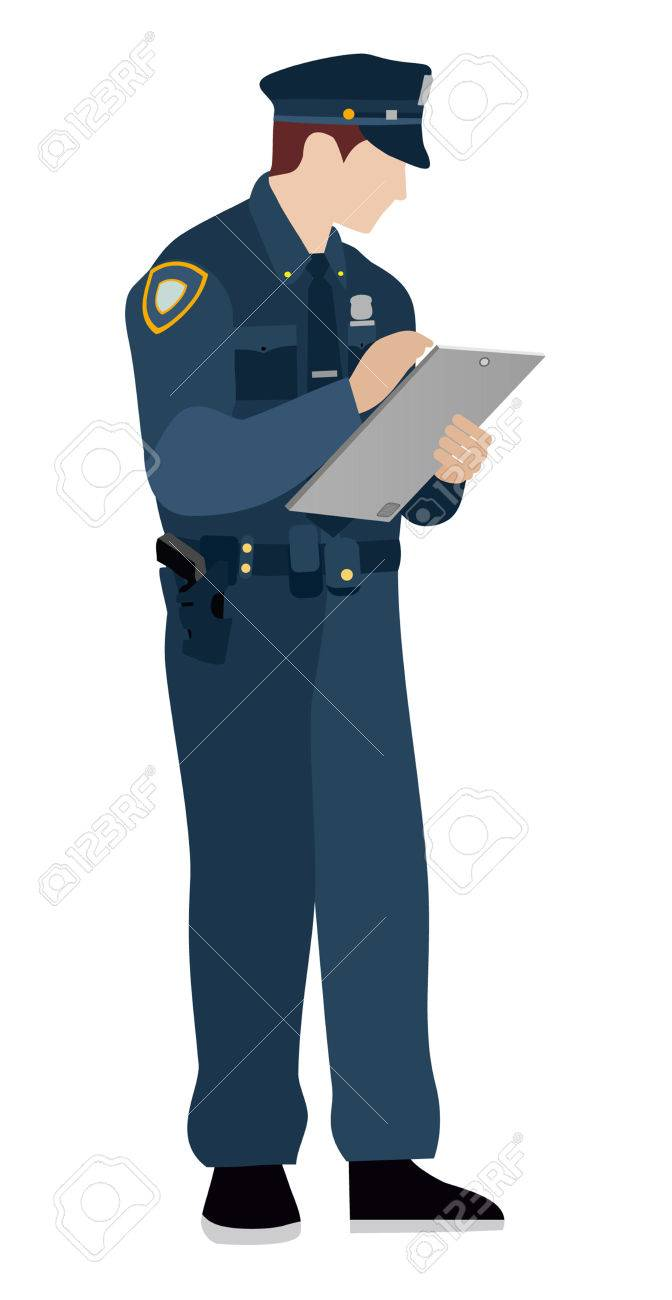 Policeman On A White Background Flat Police Officer Fills In 672x1300