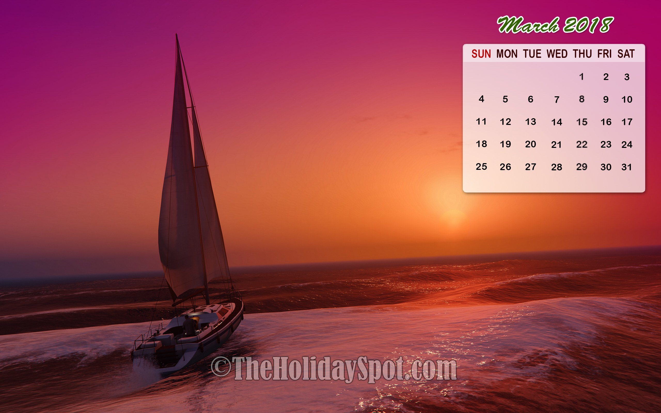 Month wise Calendar Wallpapers of 2018 2560x1600