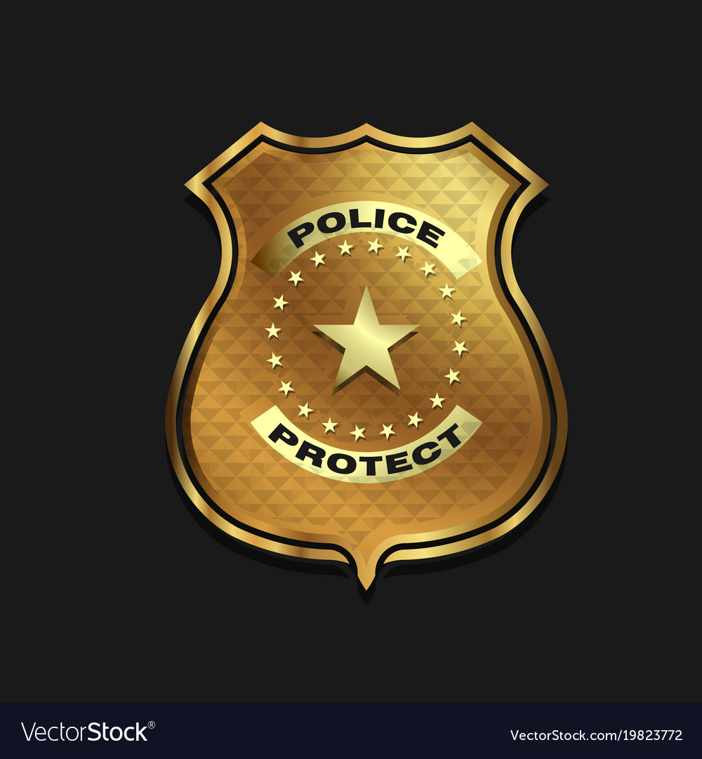 Gold police badge isolated on black background Vector Image 1000x1080