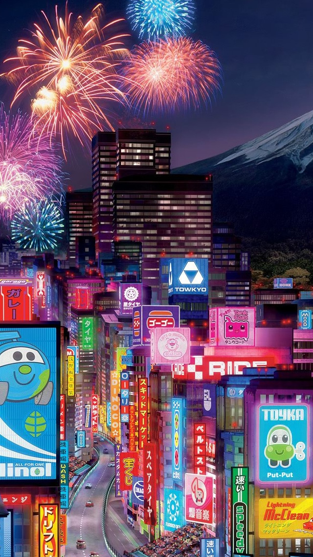 Tokyo City In Cars 2 iPhone 5s Wallpaper Download iPhone Wallpapers 640x1136