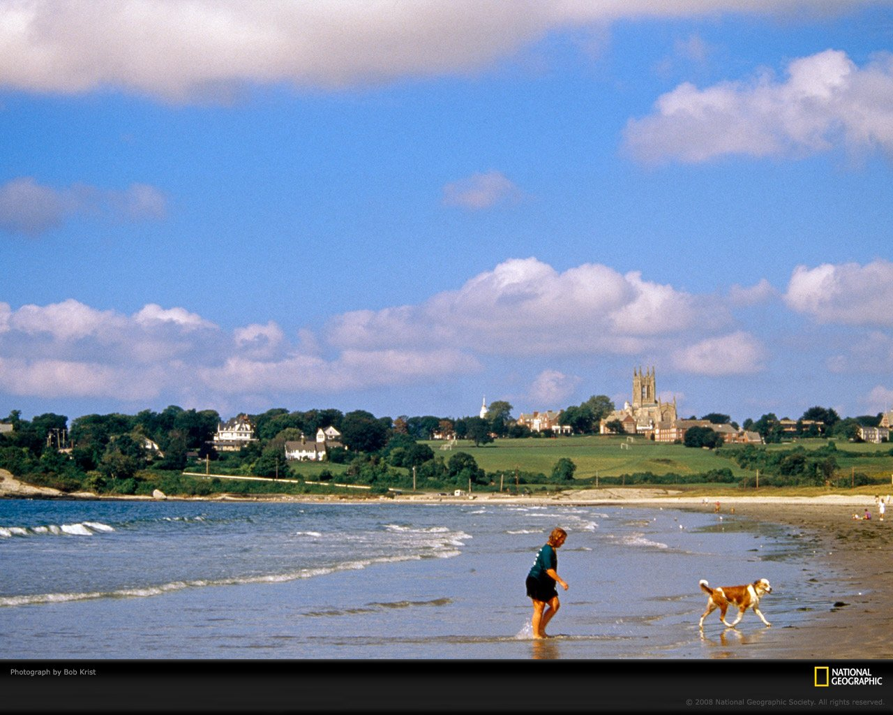 Newport Rhode Island Woman and Dog Photo of the Day Picture 1280x1024