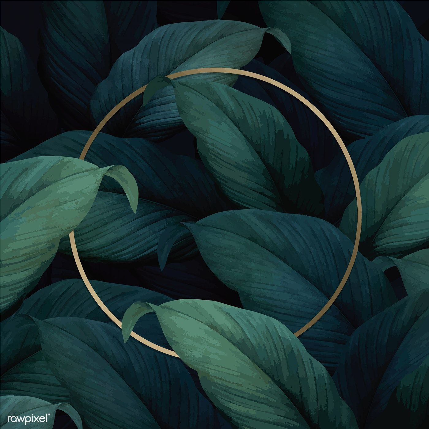 Download premium vector of Gold round frame on tropical leaves 1400x1400