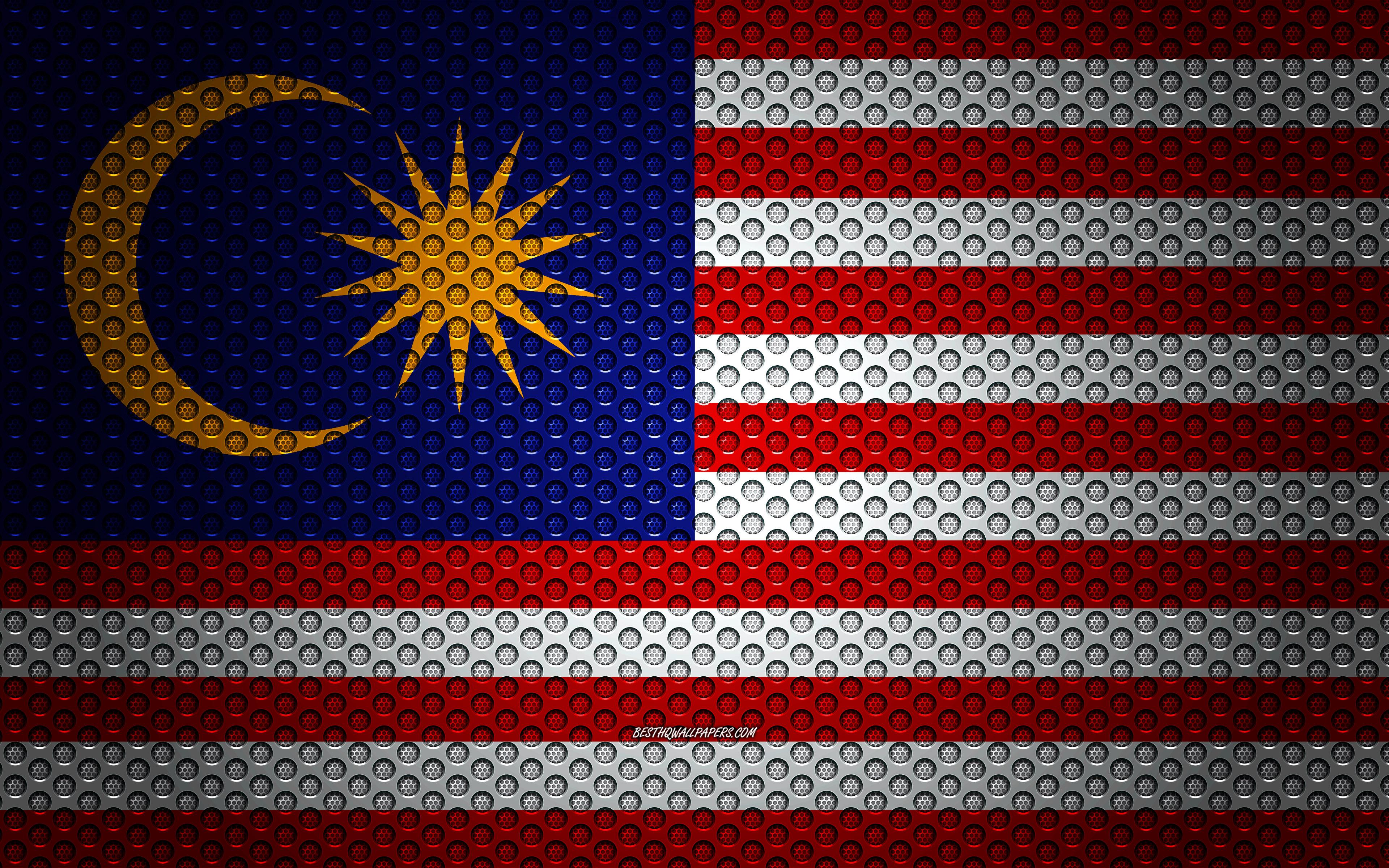 Download wallpapers Flag of Malaysia 4k creative art metal mesh 3840x2400