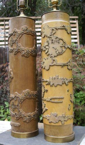 pair old vintage WALLPAPER ROLLER wood table lamps floral pattern Eur 293x500