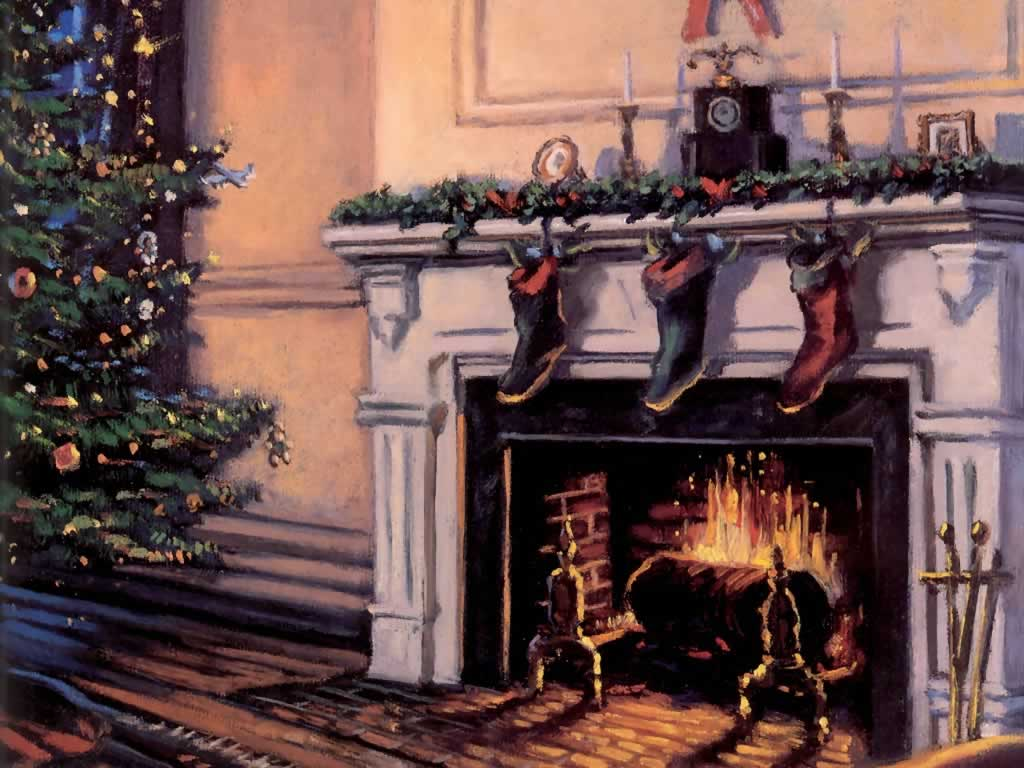 Christmas Fireplace And Stockings   Christmas Scenes 1024x768