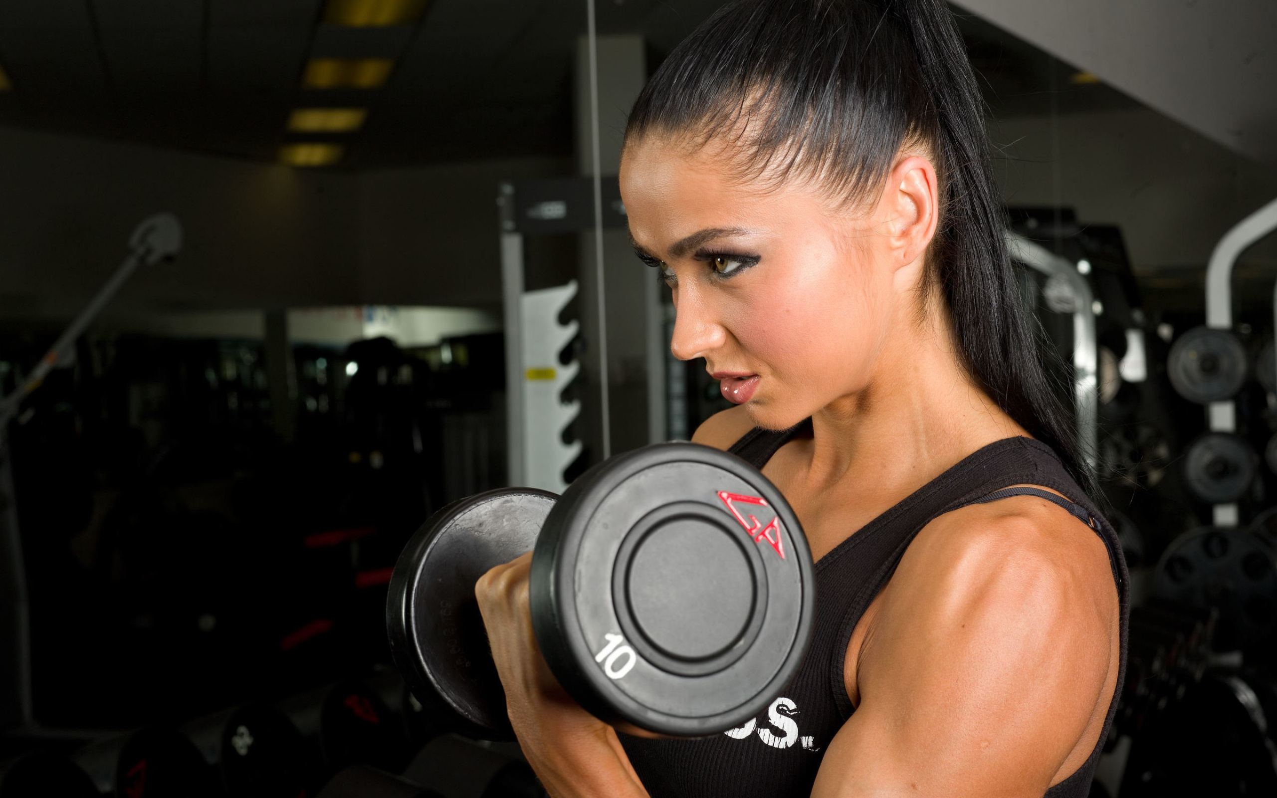 Body Building Fitness Model Weights Brunette HD Wallpapers 2560x1600