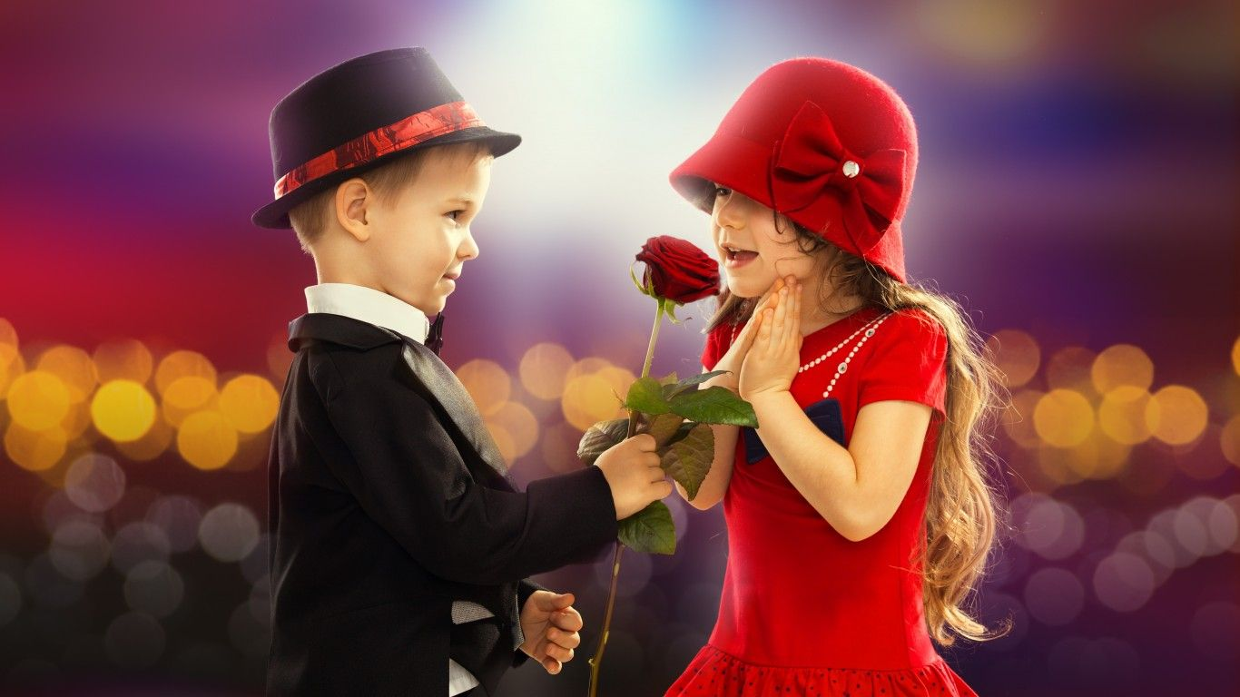 Download wallpaper valentines day love couple rose boy 1366x768