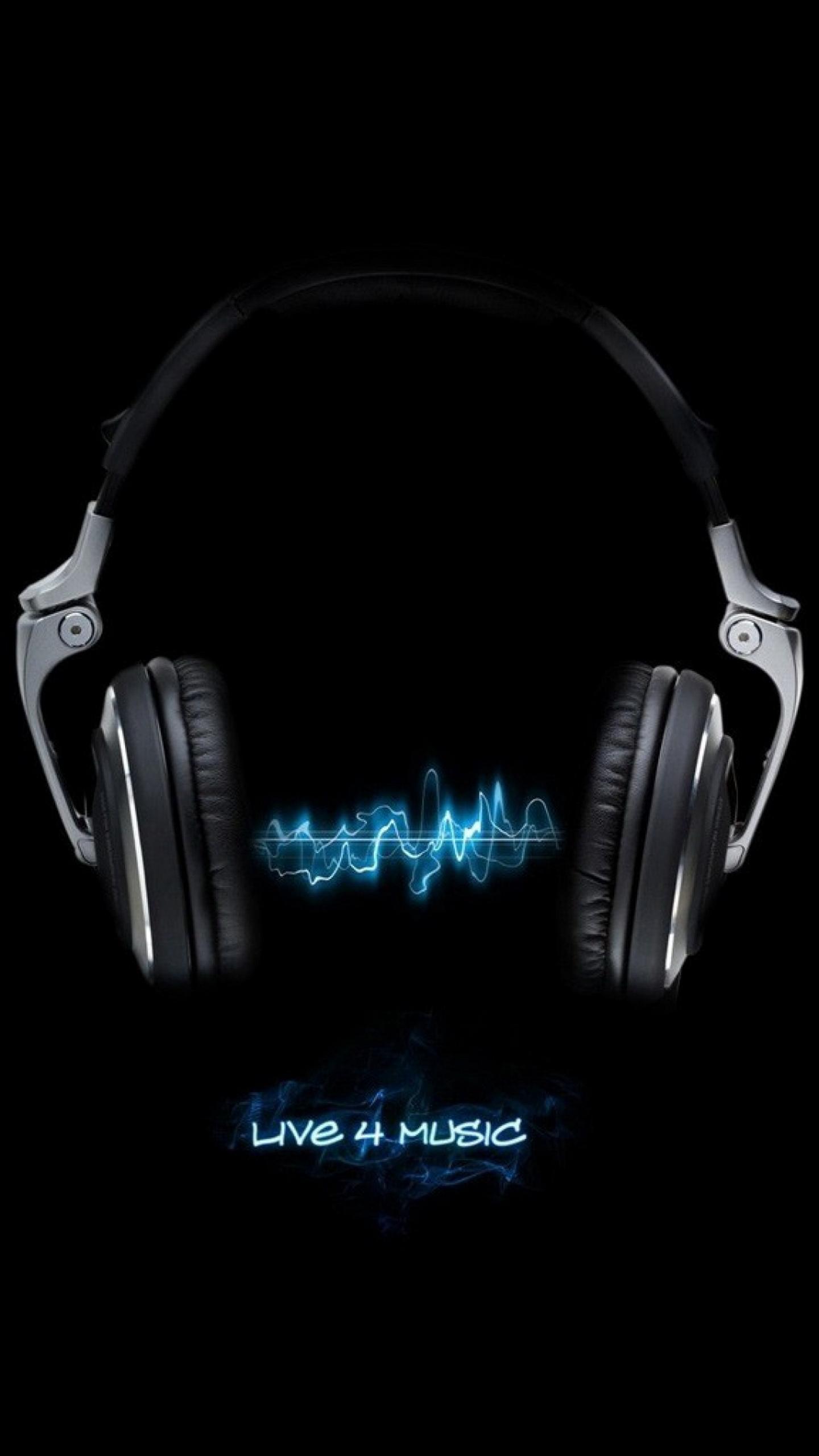 Live For Music Black Neon Blue Galaxy Note 4 Wallpaper Quad HD 1440 1440x2560