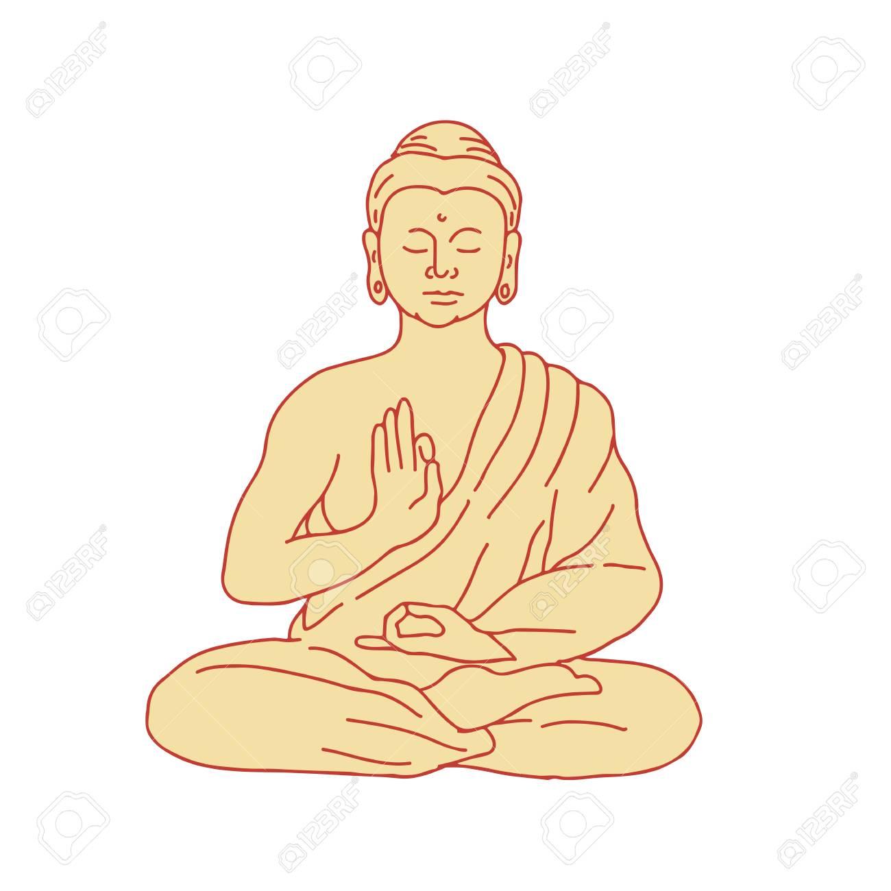 Drawing Sketch Style Illustration Of Gautama Buddha Siddhartha 1300x1300