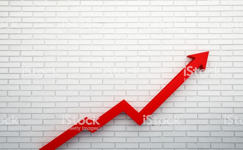 Graph Arrow Of Improvement 3d Render Illustration White Brick 1024x631