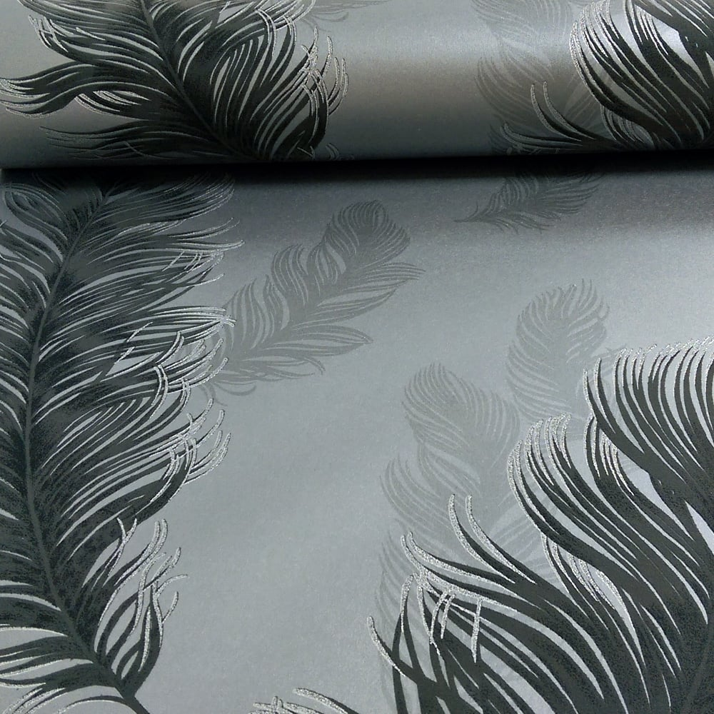 Sirius Feather Pattern Bird Motif Metallic Textured Wallpaper 673602 1000x1000