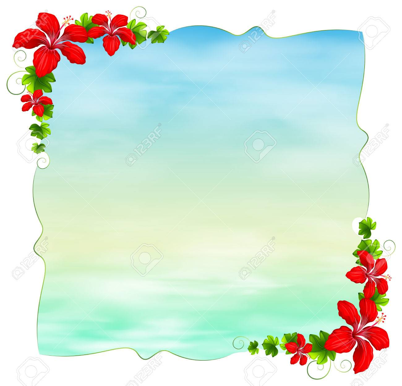 Illustration Of An Empty Template With Floral Borders On A White 1300x1249