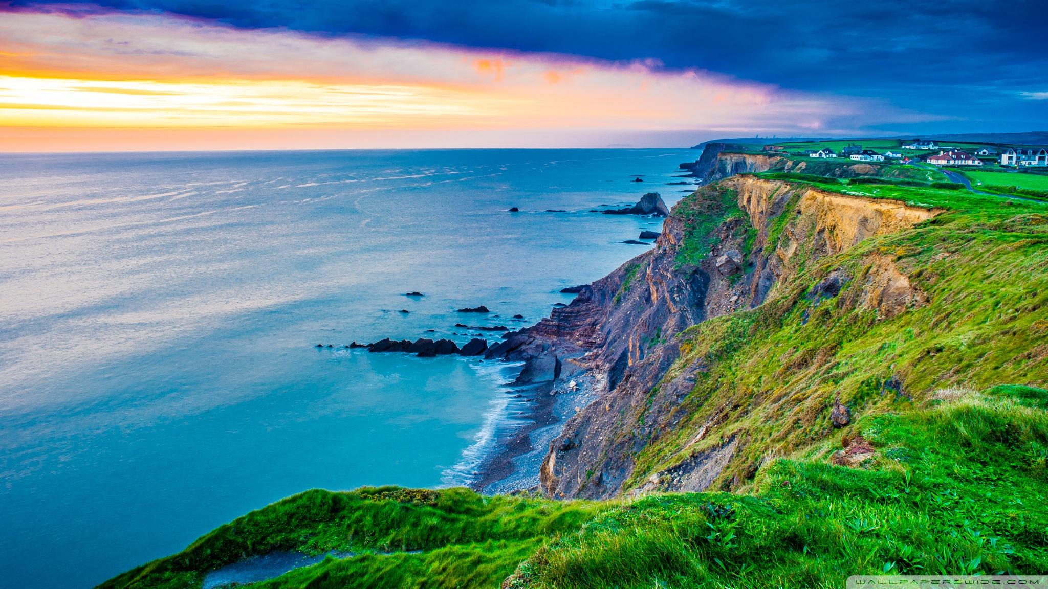 Coast Cornwall England United Kingdom 4K HD Desktop 2048x1152