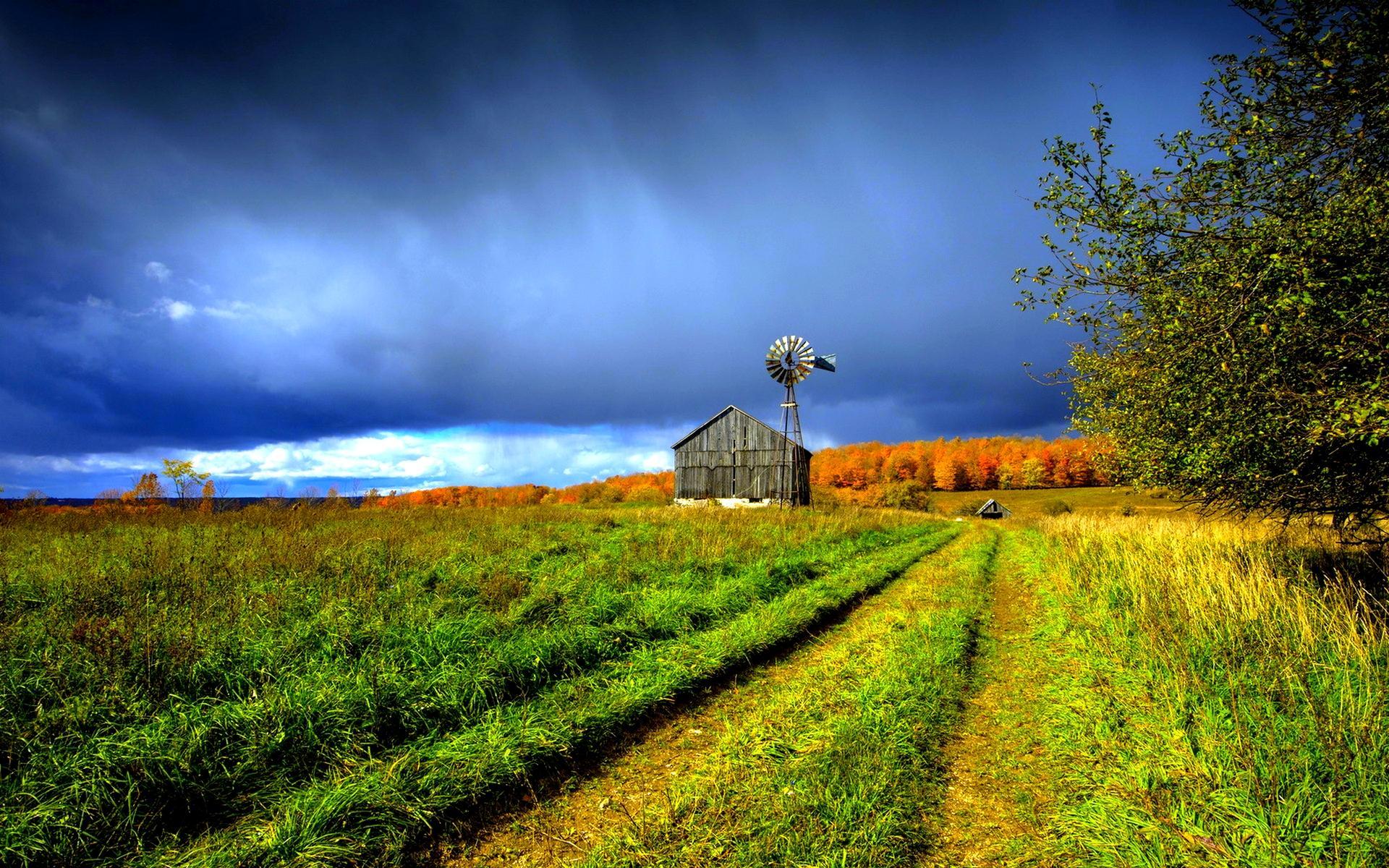 Beautiful Farm House Windmill Hd Wallpaper Wallpaper List 1920x1200